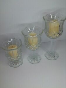 """Set of 3 Tulip Cup Stem Votive Home Interiors Glass Candle Holder  7"""", 5.5"""", 4"""""""