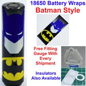 6 X Batman Styled 18650 Battery Wraps - Heat Shrink PVC Sleeves