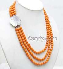 7-8mm Round Orange Natural Coral 3 strands 18-20'' necklace and Shell Clasp-6314