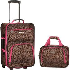 Rockland 2-Piece Rolling LUGGAGE SET TRAVEL BAG SUITCASE TOTE PINK LEOPARD NEW
