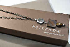 Silpada Necklace Sterling Silver Mother Of Pearl & Tiger's Eye N1336