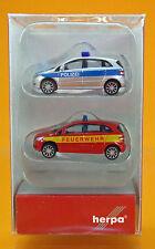 """Herpa 066549 Mercedes-Benz B-Klasse 2er Set """" Polizei/Feuerwehr """" Scale 1/160"""