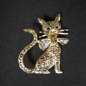VINTAGE 9 CT GOLD RUBY SAPPHIRE & DIAMOND CAT BROOCH BIRM.1989 - 4.9 GRAMS