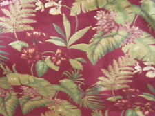 Upholstery weight fabric material red floral leaf leaves tropical red romantic