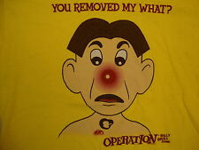 """Operation """"You Removed My What!?"""" Silly Skill Board Game Yellow T Shirt L"""