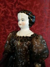 Antique German China Head Lady Doll Nicely Modeled Black Hair w/ Center Part