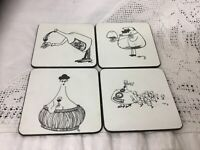 Set 4 Fun Drink Coasters Drink Mats Wine Lovers Themed Gift Felt Backed