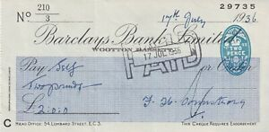 BARCLAYS BANK CHEQUE 1936