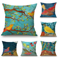 Bird Paint Home Cotton Linen Car Bed Sofa Throw Pillow Case Square Cover 18inch