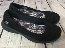 Skechers Air Cooled Memory Foam Black Flats Shoes Comfort Slip Ons Sz 7.5 L@@K