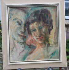 Ölbild Gemälde Kopf Junges Paar Signatur FL Wh ? Rahmen 1952 expressionistisch