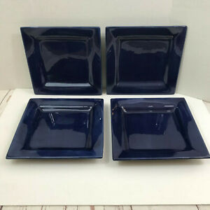 Tabletops Unlimited Espana COBALT Blue Square Dinner Plates