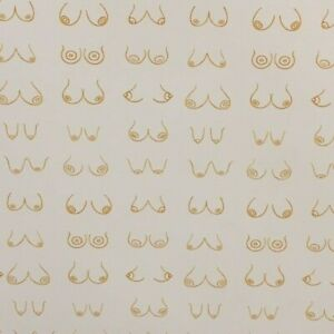 Birthday Golden Boobs Fun Wrapping Paper 1 Large Sheet Of White Gift Wrap