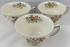 3 Antique Royal Doulton Flat Tea Cups Old Leeds Spray D6203 Made in England