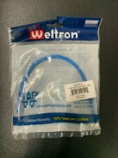 Case of 300 Weltron Cat6 Clear Easy Tab Patch Cables, 1', Blue (90-C6CB-BL-001)