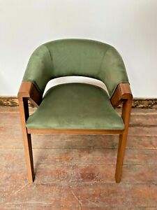 SET OF 6 GREEN VELVET CURVED ARMCHAIRS / TUB / CLUB / FOLDED WOOD DESIGN NEW