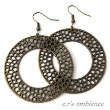 XXL Ohrringe mit ORNAMENT-Ringen, Bronze-Vintage-Look, Ohrhänger, 0657