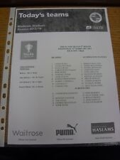 12/02/2014 Reading Youth v Accrington Stanley Youth [FA Youth Cup] (single sheet