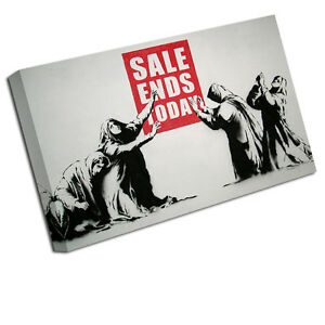 BANKSY CANVAS ART PRINT THE SALE ENDS TODAY WALL PICTURE BA37