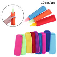10x Colorful Ice Sleeves Freezer Reusable Summer Icy Block Lolly Cream Holder_LN