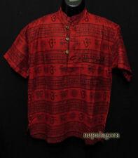 Sh994 L Cotton Om Mantra Block Print short sleeve Hippie Grandad Red Kurta Shirt