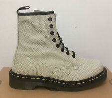 DR. MARTENS 1460  OFF WHITE HI SHINE SNAKE   LEATHER  BOOTS SIZE UK 9