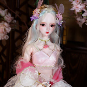 60cm BJD Doll 1/3 Female Ball Jointed Body + Face Makeup + Eyes + Wig + Clothes