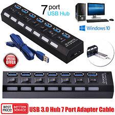 5 Gbps Super Speed 7 Port Hub USB 3.0 adaptateur secteur ca pour Macbook PC portable UK