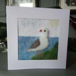 Handmade Needle Felted Seagull Card/Picture Wool Textile Art Felt