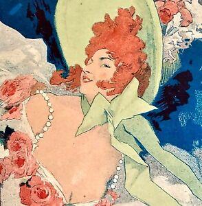 Original JULES CHERET Color Lithograph Alcazar d'été Lidia Maîtres de l'Affiche