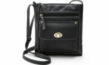 Elegante Leder Damen Multifunktions Cross-Body Bag Handtasche mit Verschluss schwarz
