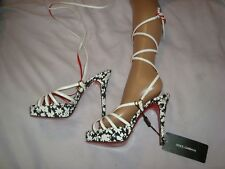 DOLCE&GABBANA  UK 3  EU 36  WHITE snake Leather / Textile Sandals RRP £ 859.00