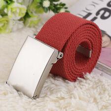 "Fashion Cotton Canvas Metal Buckle Belt Waistband Unisex Red 42"""