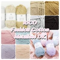 Rico Fashion Cotton Métallisé Pastel Christmas Glitter Knitting Crochet Yarn 50g