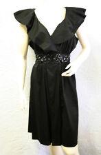 $220 BCBG BLACK (SLP6B752) RUFFLE SLEEVELESS BELT COTTON BLEND DRESS NWT L