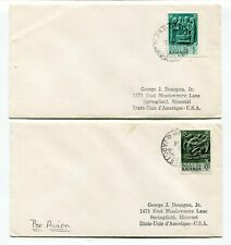 Belgian Congo / Katanga 1962 - Pair of Airmail Covers to Missouri, USA -