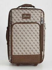 "NEW GUESS TRYST WHEELED 20"" BROWN SUITCASE LUGGAGE BAG DOLLY"