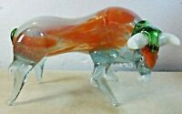 "VINTAGE MURANO ITALIAN ART HAND BLOWN GLASS GREEN ORANGE BULL FIGURE 9"" LONG"