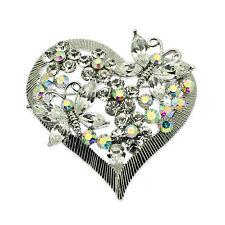 Heart Pin Brooch Vintage Style + Aurora Borealis Crystals - Gift Bag