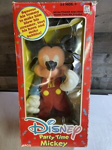 "Mickey Mouse Party Time Doll Vintage ""Blows Bubbles"" Disney Arco + Original Box"