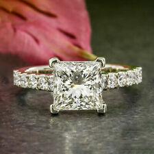 3.50 Carats VVS1/D Princess Cut Diamond Engagement Ring Sterling Silver Jewel
