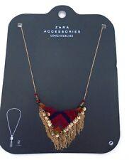 ZARA Multi Color statement Long Necklace Rustic dangle India Coin Fabric 571