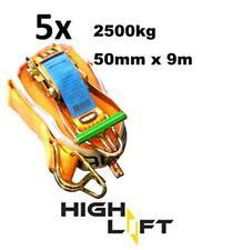 NEW 5x - 50mm x 9M 2500KG TIE DOWN RATCHET STRAP HEAVY DUTY, TOP QUALITY STRAPS