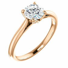 14k Rose Gold Setting Semi Mount Ring for Round Diamond Four Prong Tulip Head