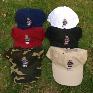 Polo Embroidery Hockey Bear Men's Hat Black Navy Baseball Soccer Vintage Cap
