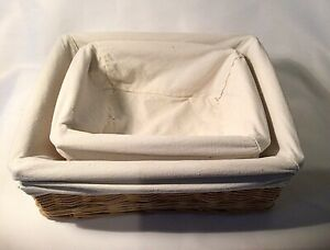 Wicker Storage Baskets With Cream Coloured Removable Lining Nest Of Two Hampers