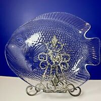 "ARCOROC FISH SHAPED PLATTER Large Clear Glass 15"" x 12"" Poisson Tray FRANCE"