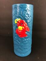 Disney Rainforest Cafe Limited Edition Red Parrot Blue Tiki Ceramic Mug Cocktail