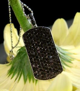 3.45Ct Round Cut Black Diamond DOG TAG Pendant Without Chain 925 Sterling Silver