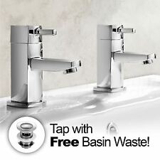 BOSTON SQUARE BATHROOM CHROME BASIN HOT & COLD TAP PAIR SOLID BRASS *FREE WASTE*